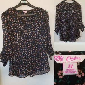 Candie's Sz M * Blue Pink Floral Sheer Blouse